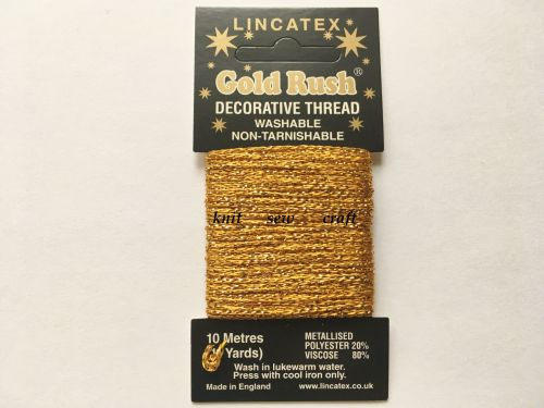 gold colour decorative metallic glitter thread 10 metres Lincatex