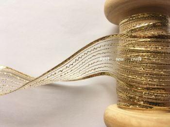 Berisfords Ribbon 1 Metre x 25mm Gold Tinsel Mesh Wired Edge
