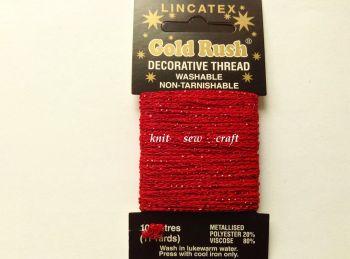 red metallic glitter decorative sewing thread Lincatex 10 metres