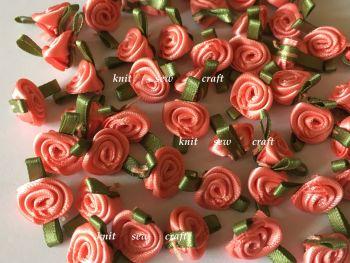 Coral Pink Satin Ribbon Roses