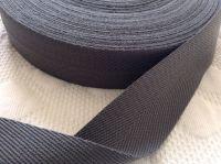 Dark Grey Tape 38mm Herringbone Patterned Webbing Sold Per Metre