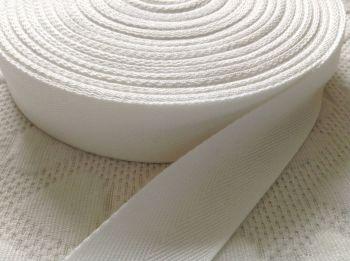 Herringbone Tape White Webbing 25mm Woven Acrylic Twill Bags Aprons 1m