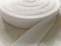 25mm White Tape Woven Herringbone Webbing Sold By Half Metre