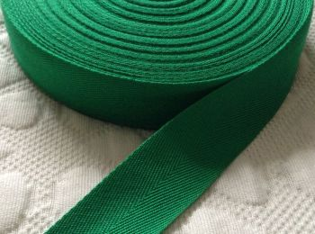 25mm Wide Herringbone Webbing Tape - Emerald Green
