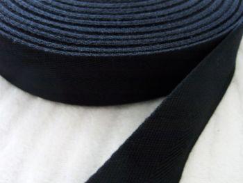 "Black Herringbone Tape 1"" Woven Webbing - Bag Handles Aprons"
