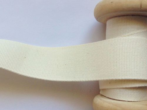 Cream Apron Tape Woven Cotton Twill - Bags Pinafore Ties