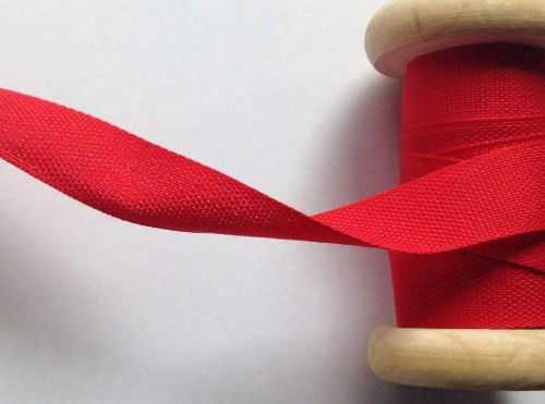 25mm Wide Poppy Red Tape - Safisa Woven Cotton