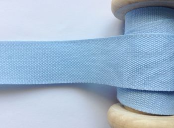 14mm Blue Tape Aprons Cushion Ties 1/2 Metre Light Blue Cotton