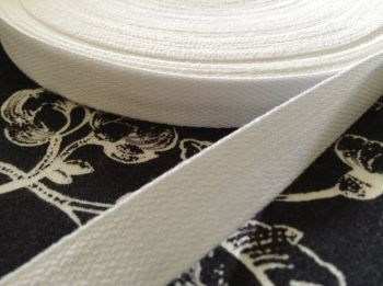 13mm White Cotton Tape - By The Reel