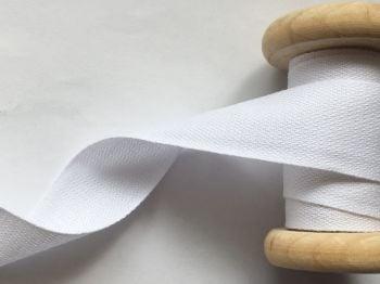 25mm White Cotton Twill Tape - 5 metres
