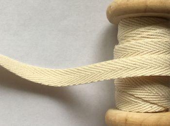 Cream Woven Cotton Herringbone Webbing Tape - 10mm Wide