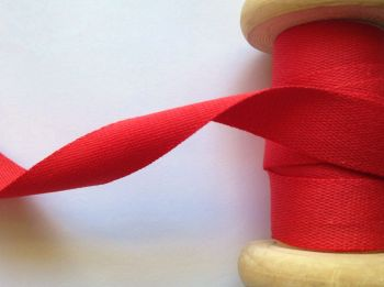 Half Inch Wide Cotton Apron Ties Tape Manubens Red 046