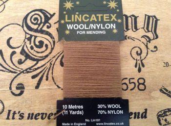 10 metres Lincatex sock darning wool fawn/dark beige