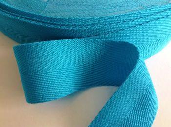Blue 1 Inch Apron Tape Turquoise Herringbone Webbing Half Metre
