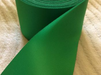 Green Satin Blanket Binding Ribbon 72mm Wide Emerald Fabric Edging 1m