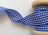Royal Blue Gingham Ribbon - Berisfords