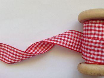 Berisfords Poppy Red Gingham Check Ribbon 25mm