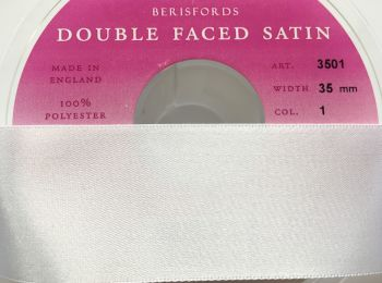 Berisfords Ribbon 1 Metre x 35mm White Double Faced Satin