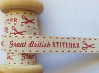 Great British Stitcher Ribbon 15mm Berisfords Red Cream Vintage Range