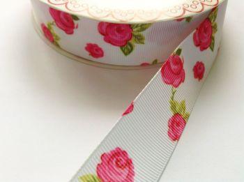 25mm White Grosgrain Ribbon -  Bertie's Bows Roses Print