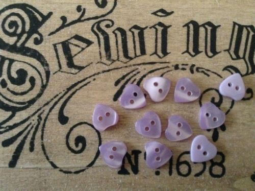Lilac Heart Buttons Set of 10 x 11mm