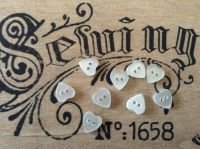 White Heart Shape Buttons, Set of 10 x 10mm