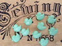 10 Mint Green Ducks, Duckling Buttons