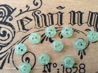 Green Flower Buttons Set of 10 x 11mm