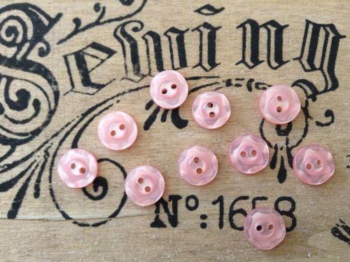 Pink Flower Buttons, Set of 10 x 11mm