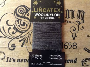 dark grey sock darning wool 10 metres Lincatex thread