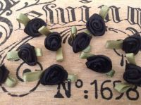 10 Black Ribbon Roses with Green Leaves