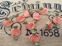 Peach Satin Ribbon Roses