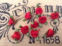 10 Red Ribbon Roses with Green Leaves