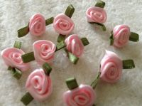 Pink Satin Ribbon Roses With Green Leaf