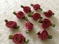 10 Dusky Pink Ribbon Roses with Green Leaves for Hand Sewing Crafts