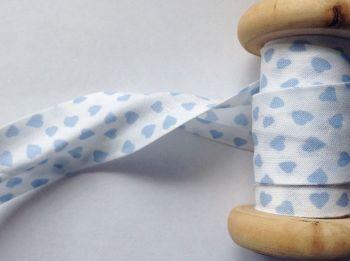 Blue Hearts Print Cotton Bias Binding Tape