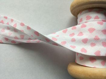 Pink Hearts Print Cotton Bias Binding