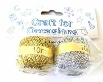 metallic gold silver cord 2 x 10 metre balls twin pack