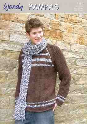Wendy Pampas Knitting Pattern 5186 Round Neck Sweater and Scarf