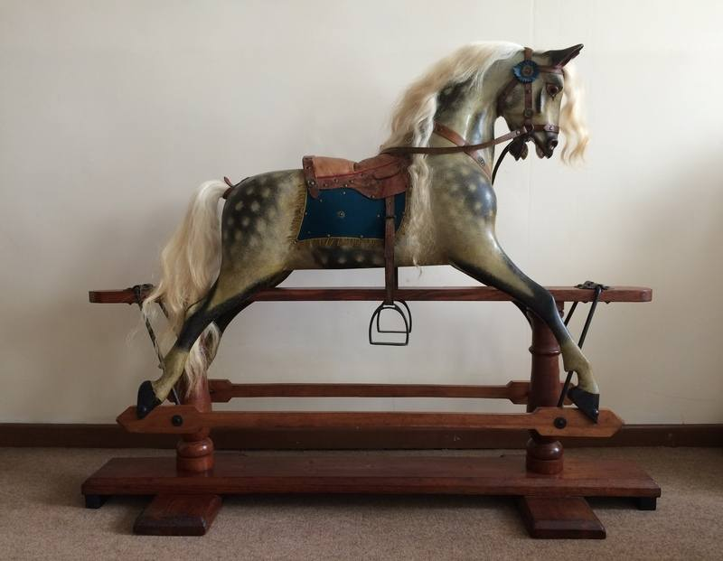 F H Ayres rocking horse in restored condition