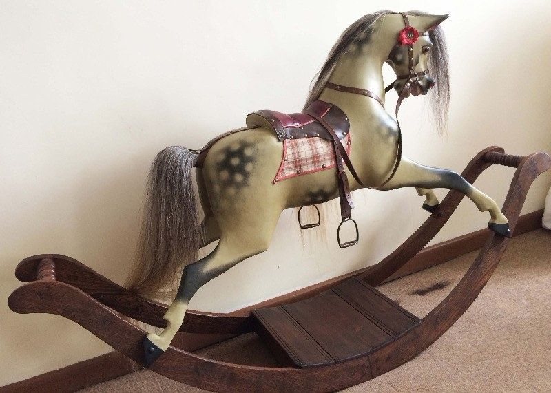 Antique bow rocking horse by G J Lines restored