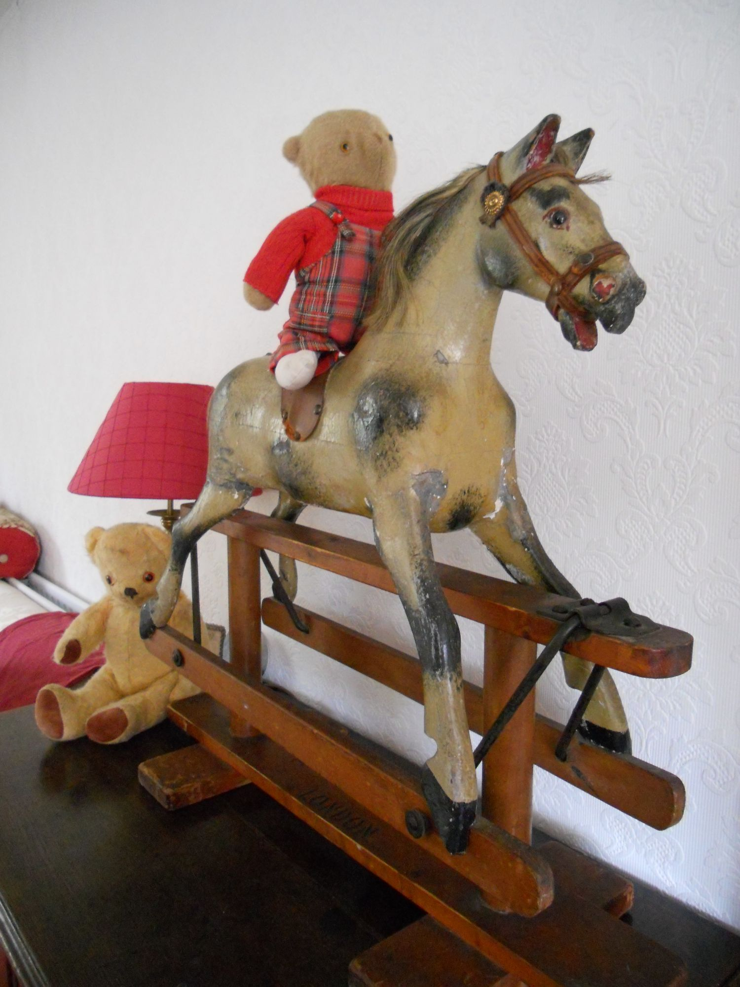 Tiny teddy size Antique rocking horse attributed to F H Ayres...
