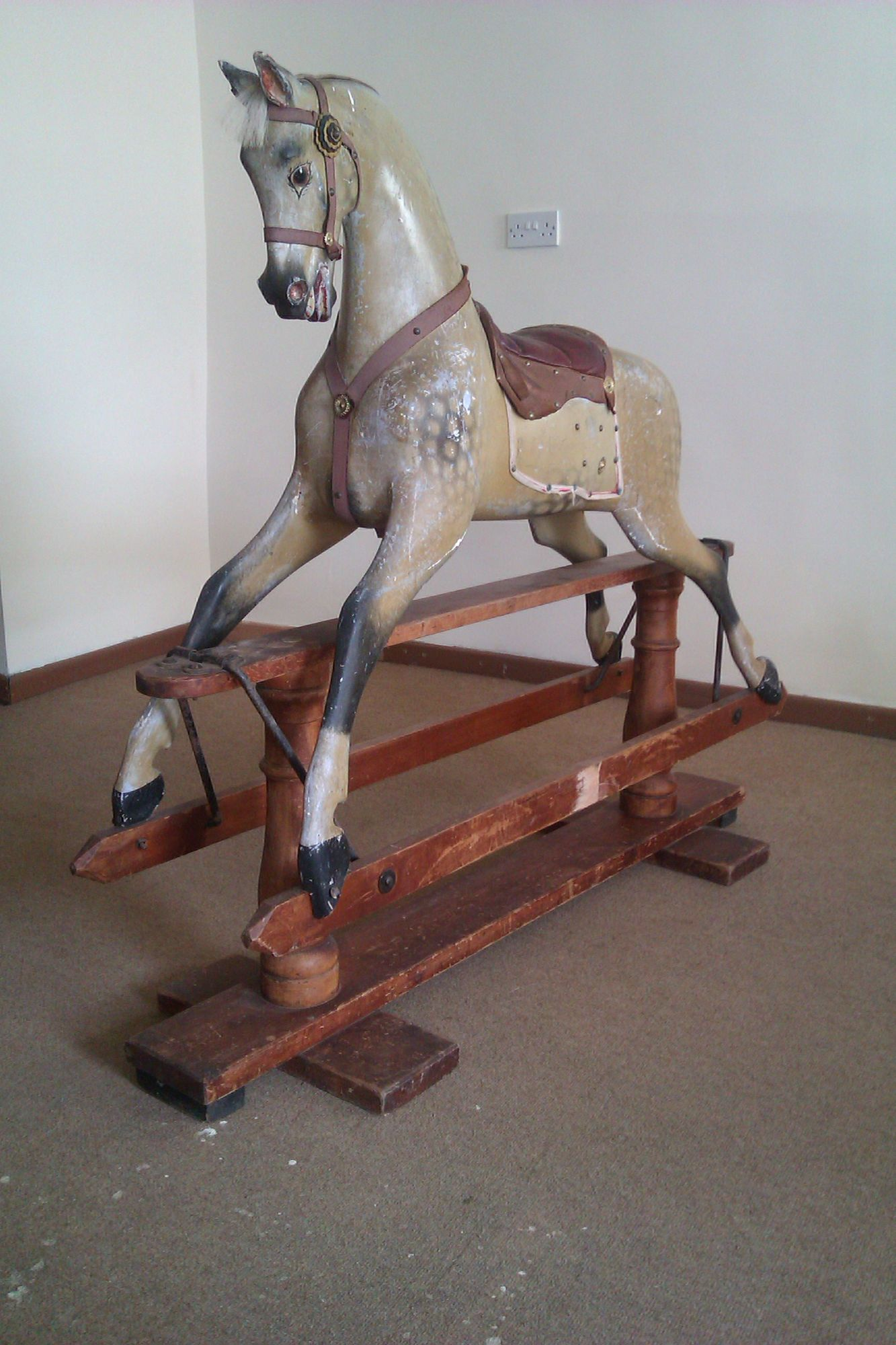Sold - Antique rocking horse by F H Ayres plain carved in unrestored condition for restoration.