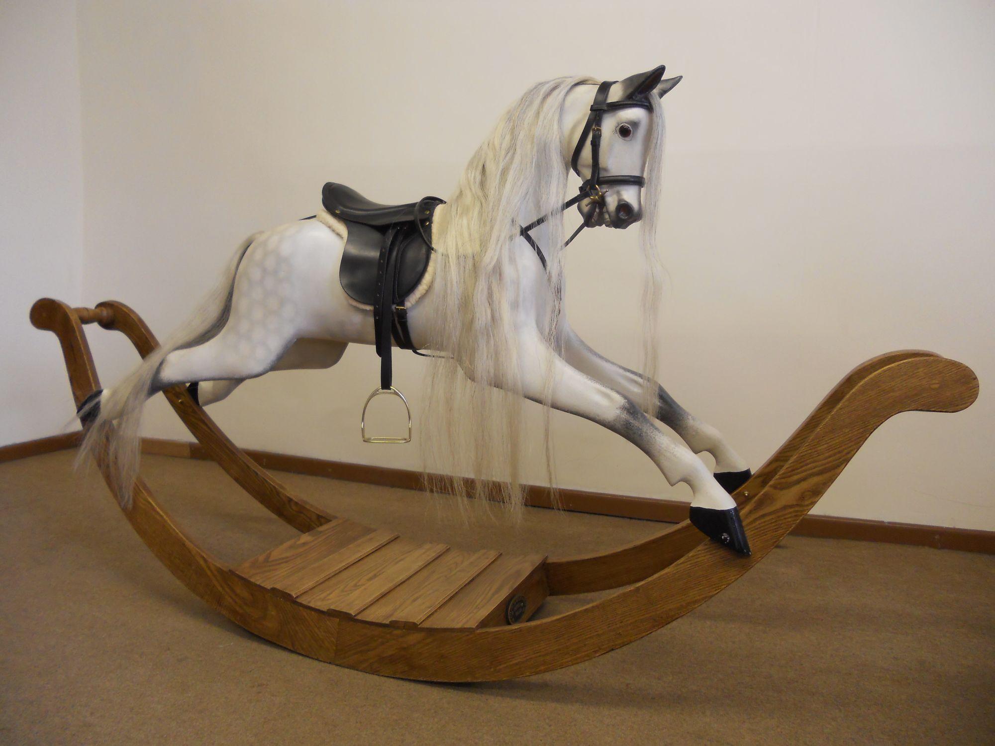 realistic dapple grey rocking horse