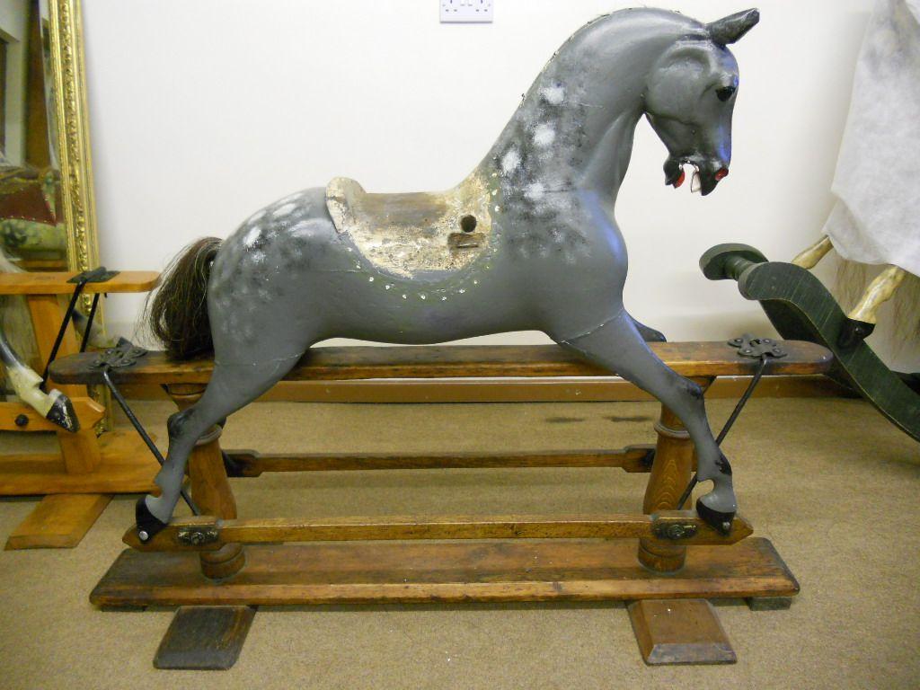 Sold - F H Ayres extra carved rocking horse for unrestored for restoration