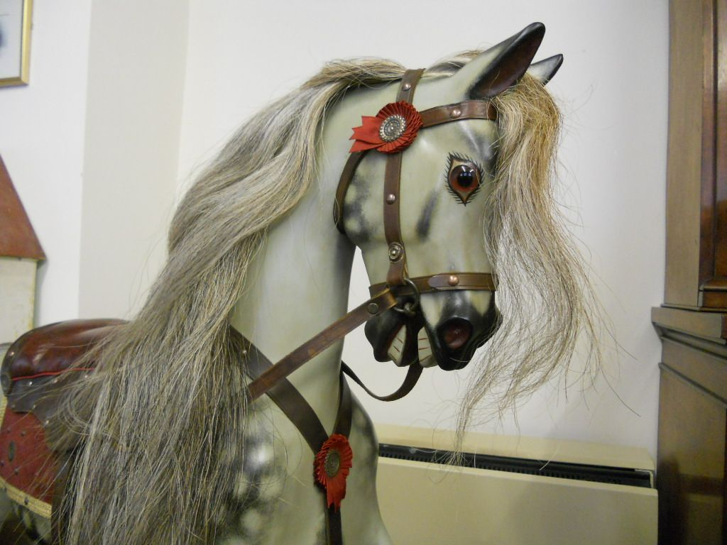 Sold - Large Antique rocking horse by F H Ayres fully restored with traditional saddlery