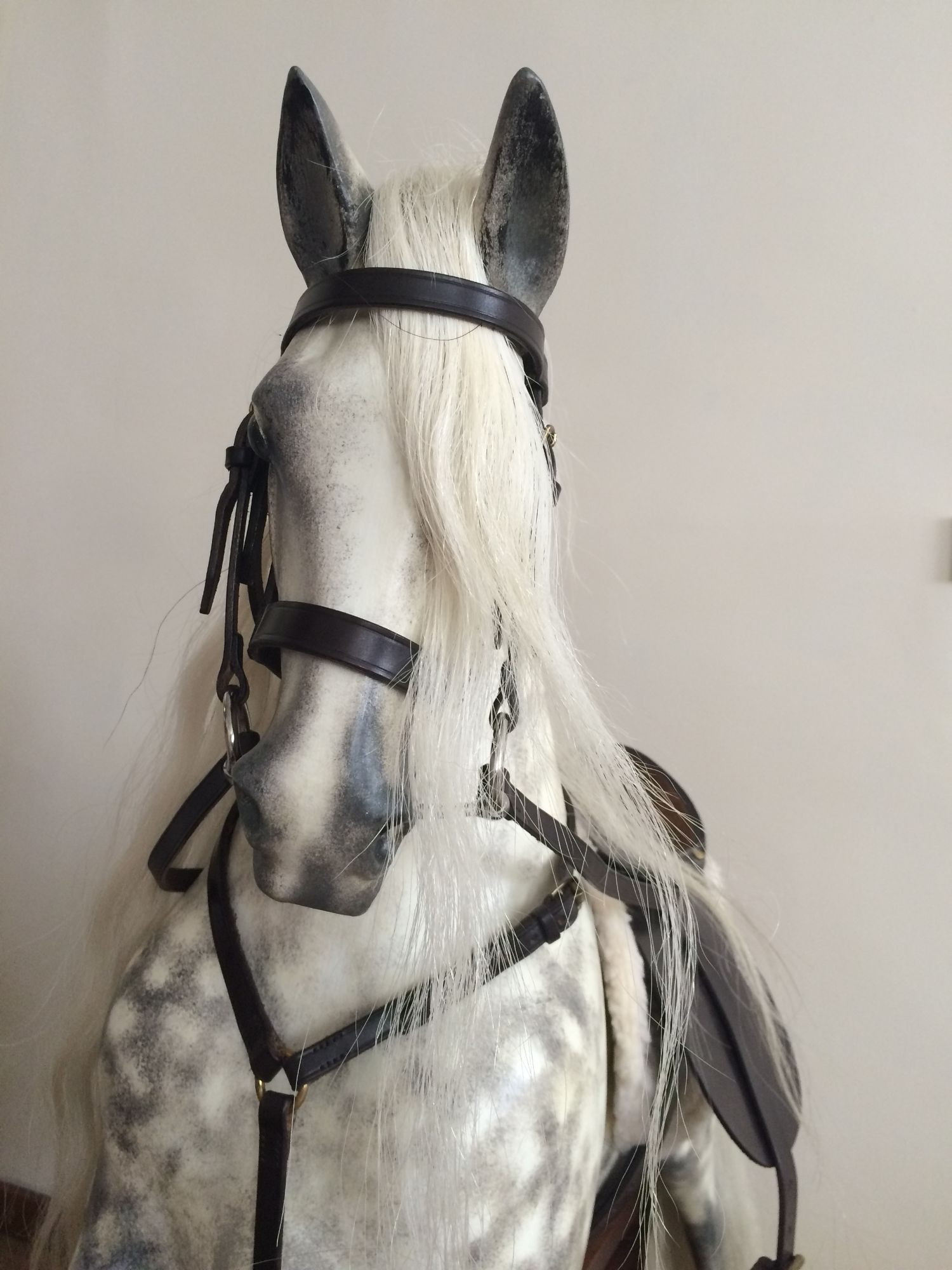 Sold - Haddon rocking horse restored in bespoke style realistic