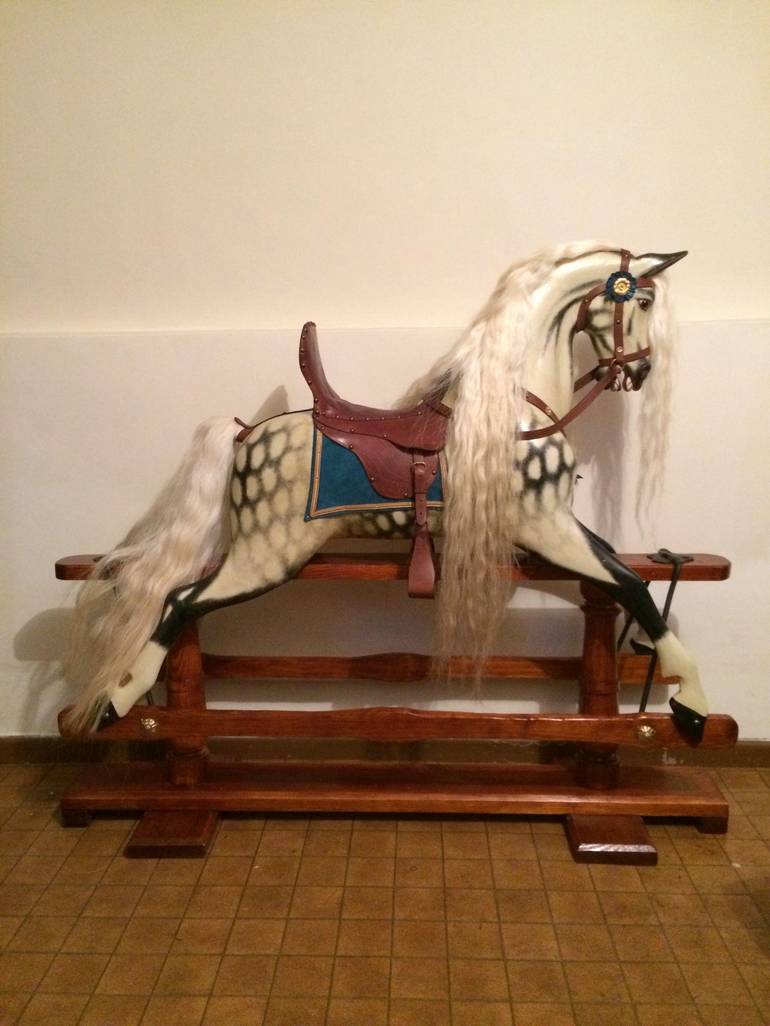 Sold - Stunning rare antique Gamages Bronco rocking horse