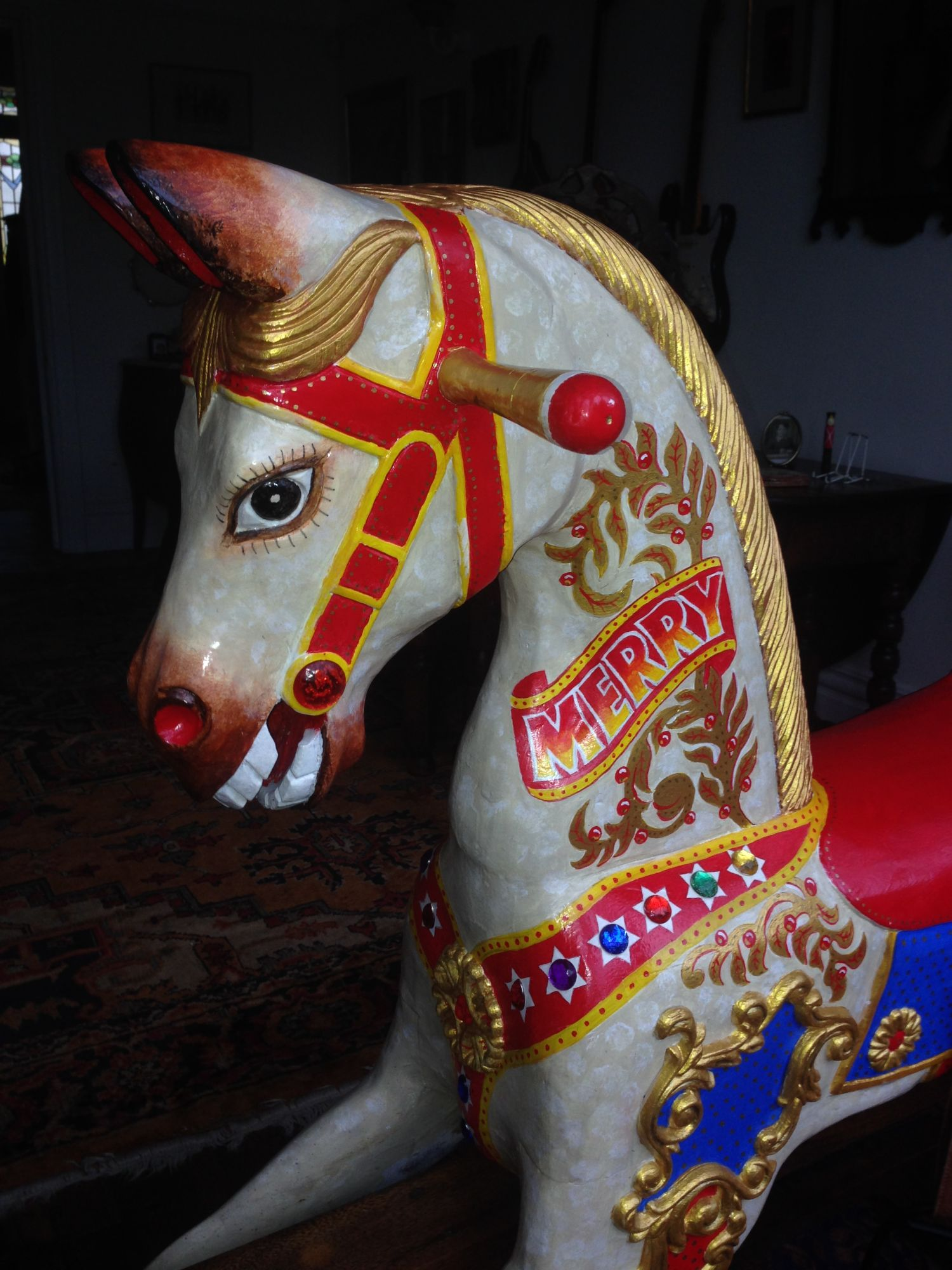 For Sale Unusual Carousel Style Rocking Horse In Good Condition