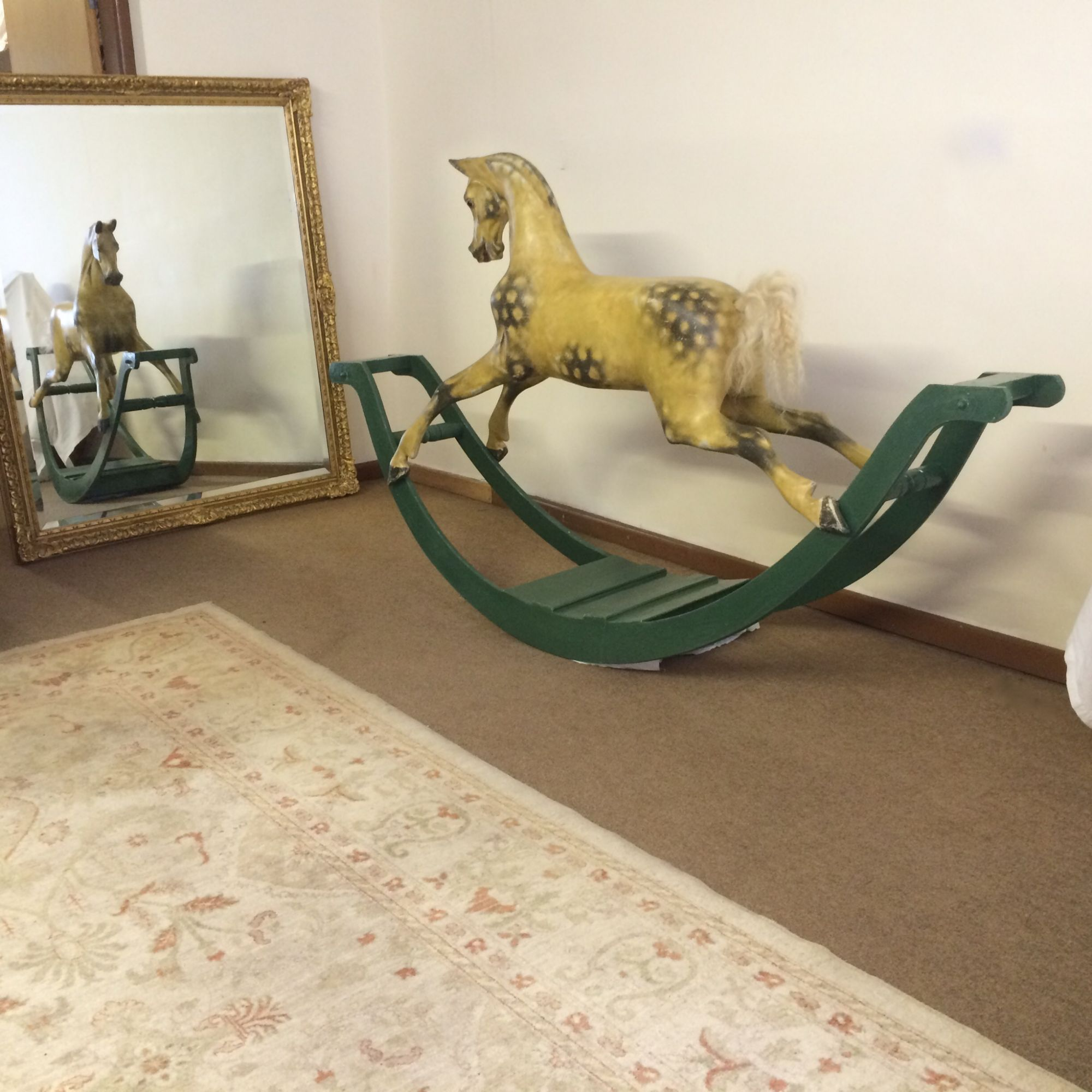 The Eventer Haddon rocking horse now repainted to look old / antique.